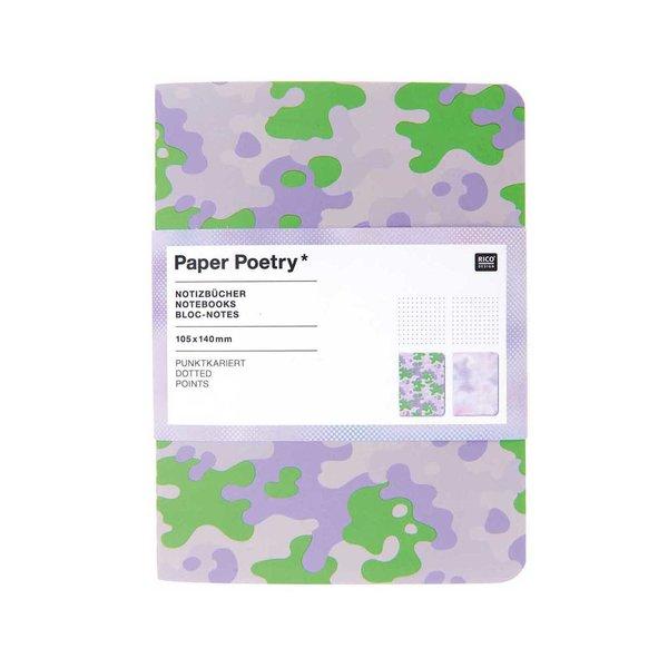 Paper Poetry Notizbücher A6 camouflage-blurry 2 Stück