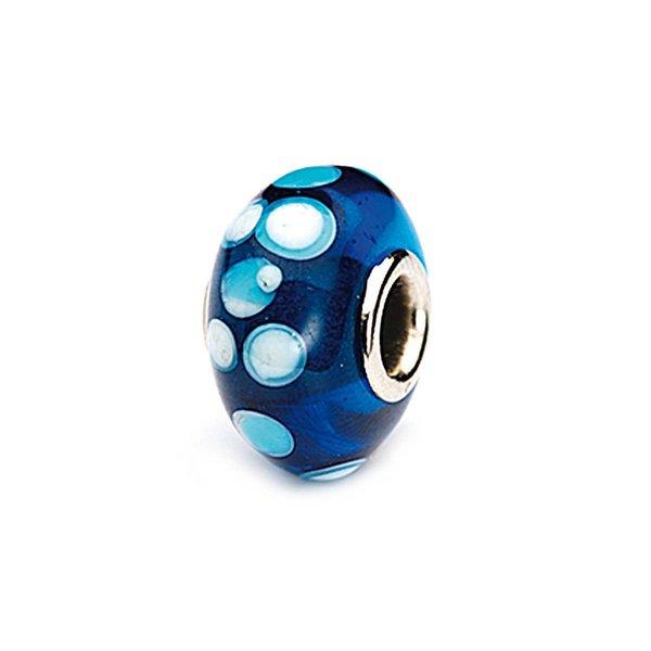 Rico Design Glasperle blau-weiß gepunktet 16x10mm