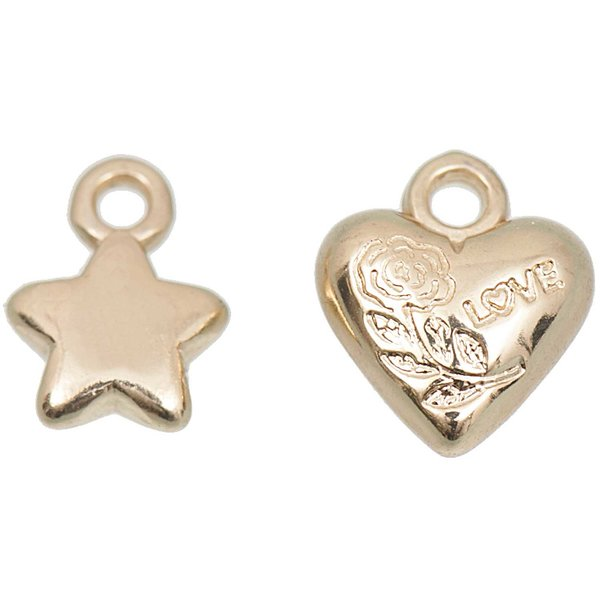 Jewellery Made by Me Perle Sterne und Herzen gold 11x10mm 15 Stück
