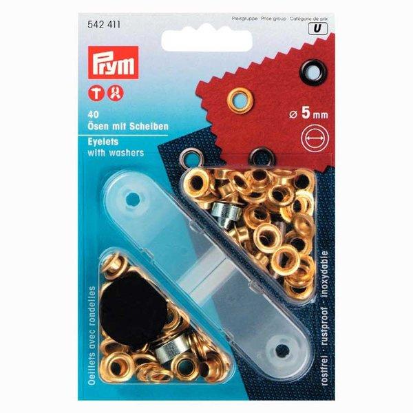 Prym Ösen mit Scheiben gold 5mm 40 Stück