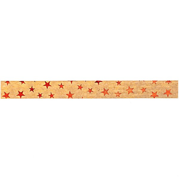 GOLDINA Packpapier-Ringelband hellbraun-rot 10mm 12m Hot Foil