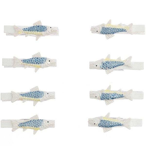Fisch auf Klammern blau-gelb 5cm 8 Stück