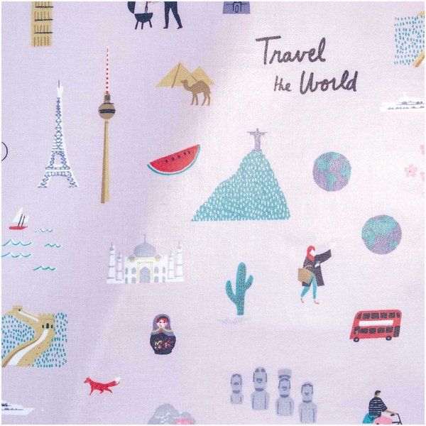 Rico Design Druckstoff Travel the World flieder 25x70cm beschichtet