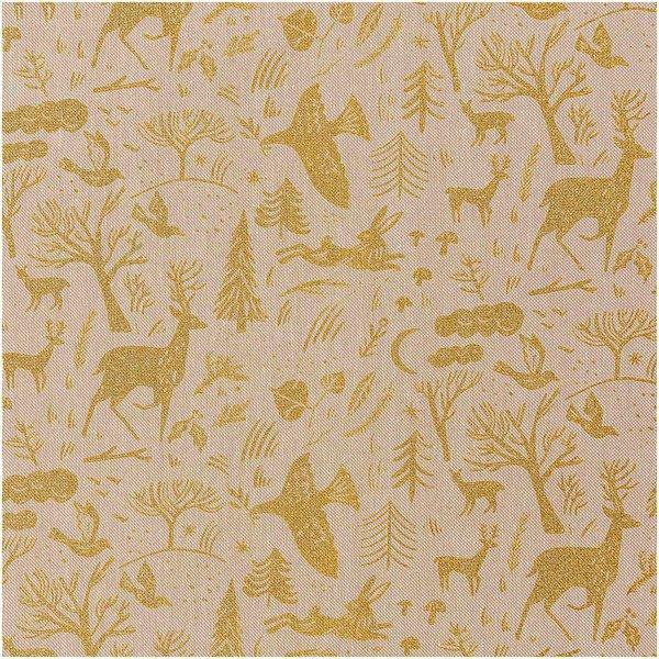 Rico Design Stoff Leinenoptik Nostalgic Christmas Winterwald natur-gold 50x140cm