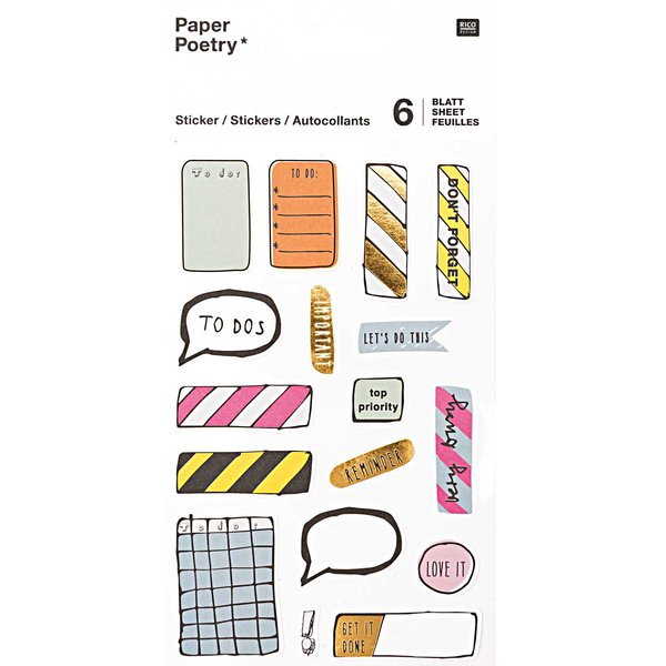 Paper Poetry Sticker Notes 6 Blatt