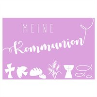 efco Wachsdekor Meine Kommunion rosa 6x4cm