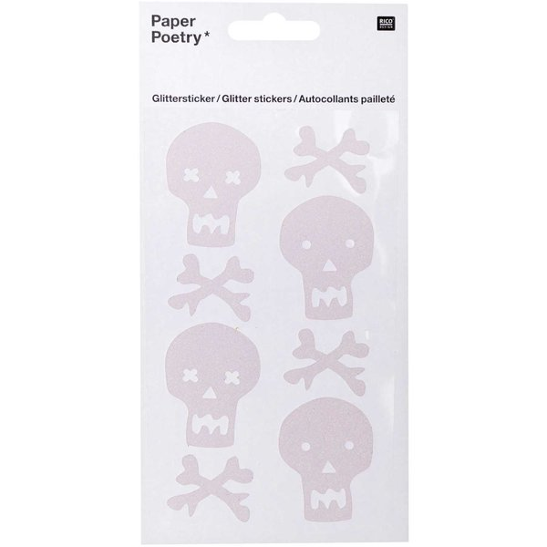 Paper Poetry Glittersticker Totenschädel