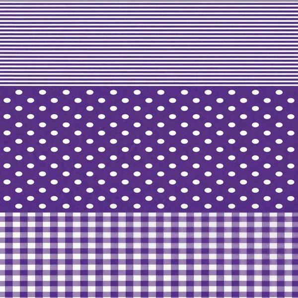 décopatch Papier Punkte-Karo lila 3 Bogen