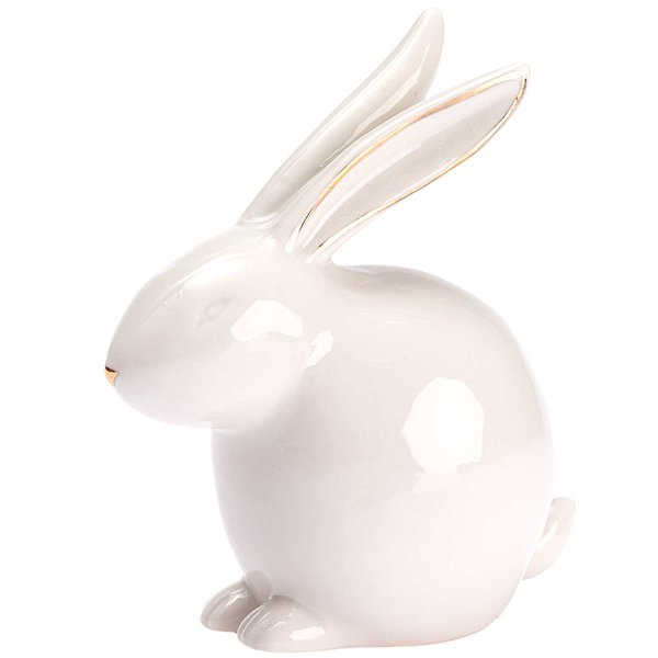 Hase sitzend Porzellan weiß-gold 10,3x9,5cm
