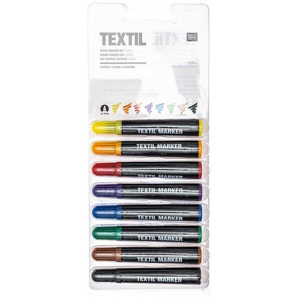 Rico Design Textil Marker basic 8 Farben