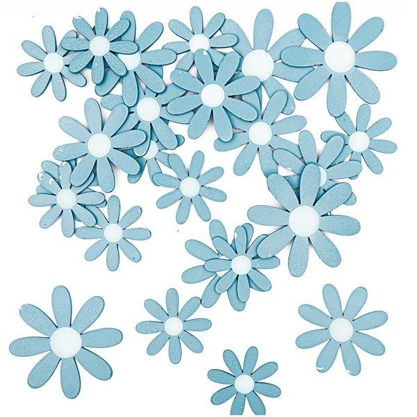 Rico Design Blüten aus Holz blau 12 Stück