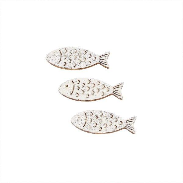 Hobby Fun Holz-Fische weiß mit Glimmer 6 Stück