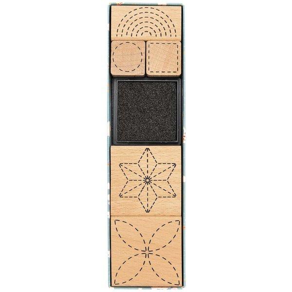 Paper Poetry Stempelset Jardin Japonais gestrichelt 5 Stempel