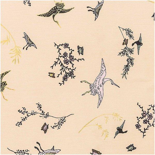 Rico Design Druckstoff Jardin Japonais Kraniche beige-gold 50x140cm