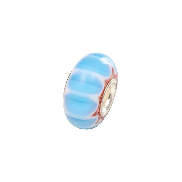 Rico Design Glasperle gestreift blau Ø=13mm