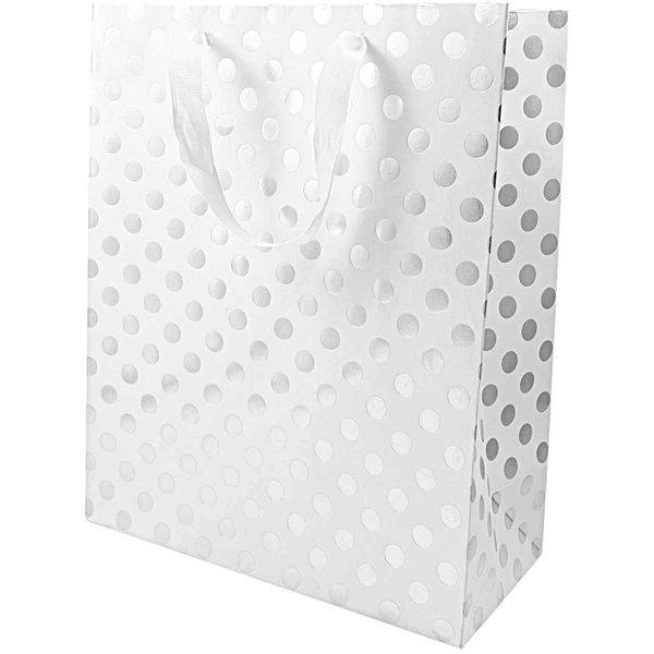 Paper Poetry Geschenktüte weiß Punkte silber 26x32x12cm