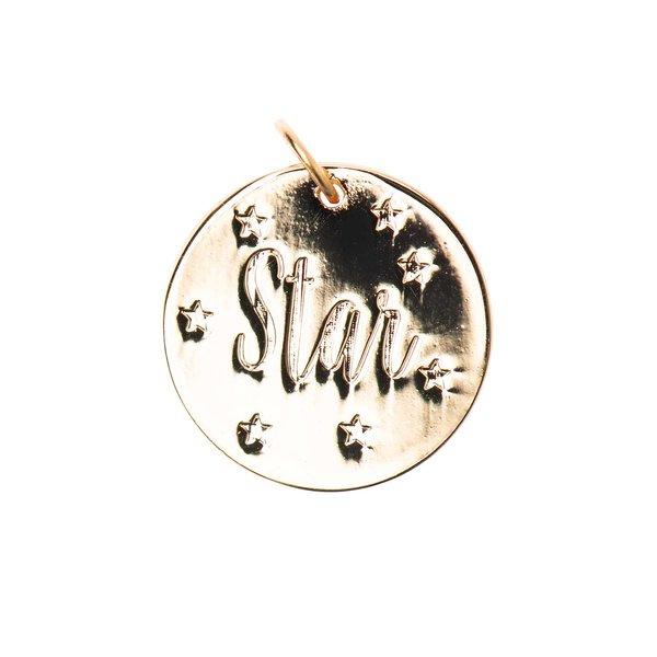 Mix it Up - Jewellery Anhänger Scheibe Star gold Ø17mm