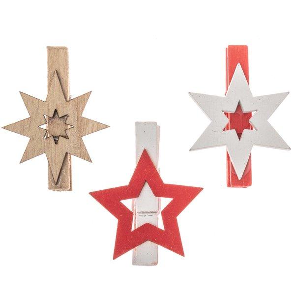 Sterne mit Klammer natur-rot-weiß 6 Stück