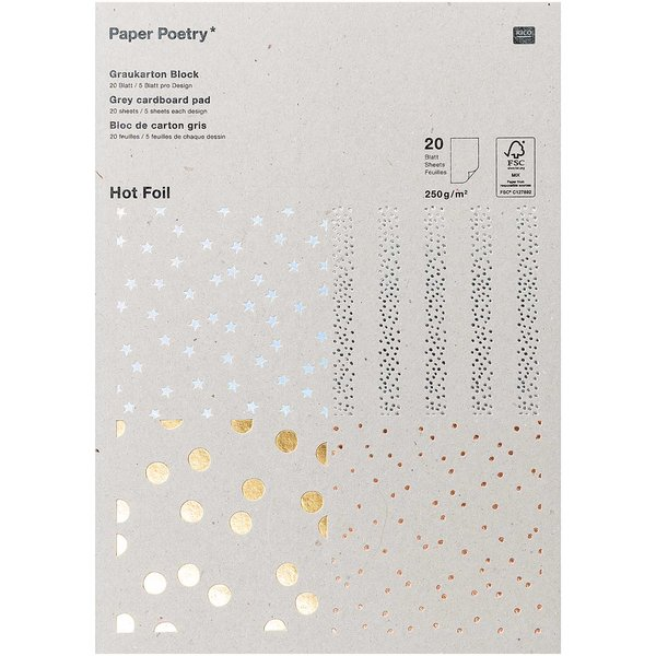 Paper Poetry Graukarton Block Hot Foil 20 Blatt 250g/m²