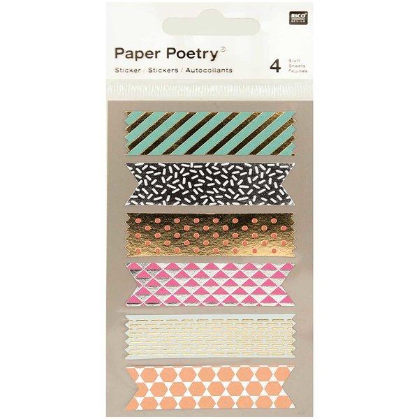 Paper Poetry Sticker Tapes metallic 4 Bogen