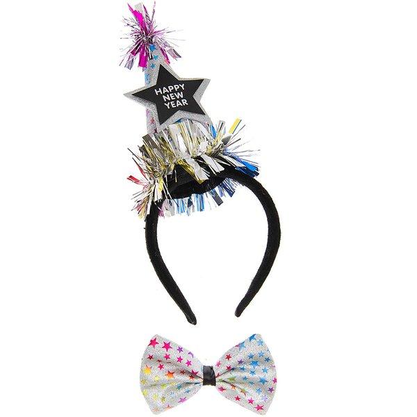 YEY! Let's Party Haarreif und Fliege Happy New Year Sterne bunt 2teilig