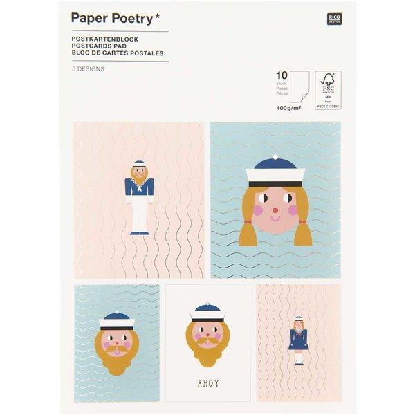 Paper Poetry Postkartenblock Matrosen 10 Stück
