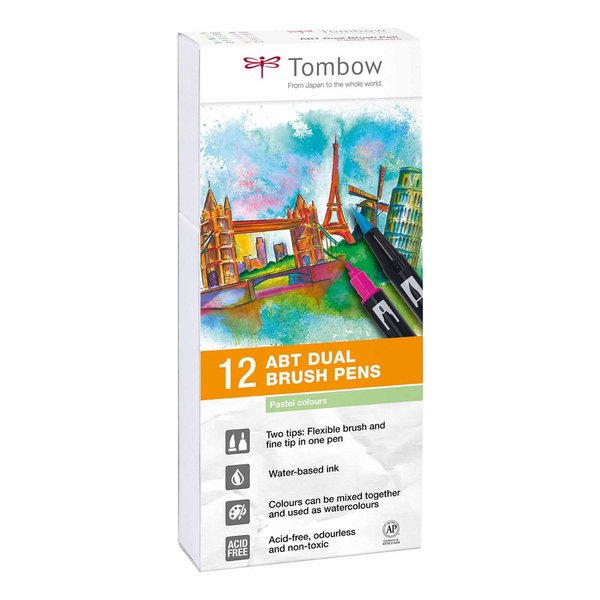 Tombow ABT Dual Brush Pen Pastellfarben 12er Set