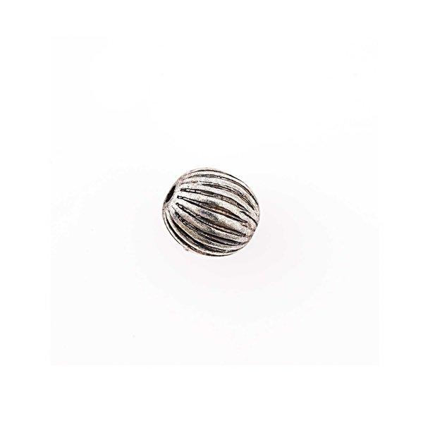Jewellery Made by Me Metallkugel gestreift silber 7mm 8 Stück